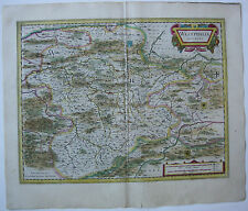 Duché de Westphalie altkolor Orig CUIVRE clés carte JANSSONIUS 1627 Rhénanie du Nord