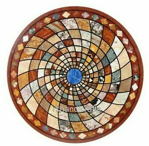 48 Inches Marble Guest Room Table Top Geometrical Design Inlaid Dining