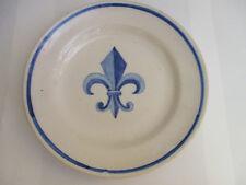 Assiette ancienne, Fleur de Lys bleue, diam 23 cm, TBE