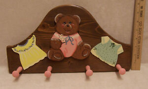 Childs Wooden Wall Hanging Rack w/ Pegs Clothes Hat