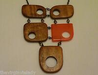 Virgin Vie 'JIGSAW'  Necklace Brown Wood Orange  *NEW*