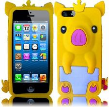 Apple iPhone 5 5S SE Rubber SILICONE Soft Skin Case Cover Cute Crown Pig Yellow
