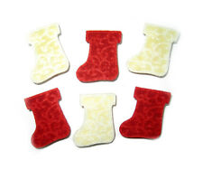 MINI PINCES A LINGE EN BOIS MOTIF BOTTE FEUTRINE ROUGE BLANC LOT DE 6