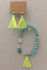 Turquoise Blue Assorted Beads Fluorescent Yellow Tassel Bracelet & Earrings Set