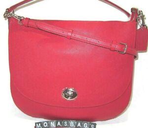 Coach 24771 Front Flap Turnlock Shoulder Hobo True Red Pebbled Leather Handbag