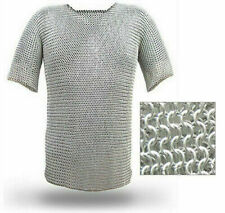 Medieval vintage designer steel chainmail shirt butted rings costume wearable