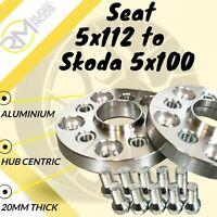 Seat CAR 5x112 57.1 to Skoda 5x100 20mm Hubcentric PCD Adaptors - Steel Inserts