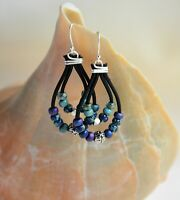 Blue Green Black Bead Leather Earrings Dangling Earrings Holiday Gift For Her