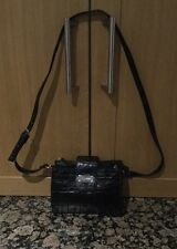 STYLISH NINE WEST / BLACK MULTI POCKET / FAUX LEATHER MESSENGER BAG NWOT