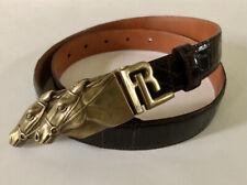 Unworn Ralph Lauren Collection Genuine American Alligator Horse Buckle Belt Sz.L