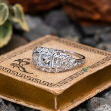 Vintage & Antique Art Deco Fine Engagement Ring 14k White Gold Over 3 Ct Diamond