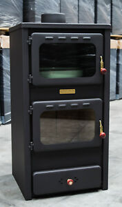 Wood Burning Stove with Oven and Steel Lid Solid Fuel Cooker 8,4kW Heating Power