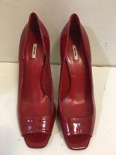 MIU MIU RED Patent Leather Open Toe Pumps Stilettos Heels Size 39/9 Authentic