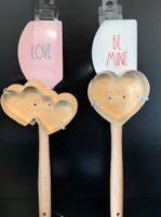 Rae Dunn Valentines Day Spatula Cookie Cutter Set Of 2 (BE MINE) & (LOVE)    NEW