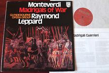 PHILIPS 6500 663 MONTEVERDI MADRIGALS OF WAR LP LEPPARD NM (1971) ENGLAND