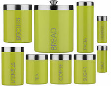 Lime Green Enamel Storage Canisters Set Tea, Coffee, Sugar, Biscuits, S&P & more