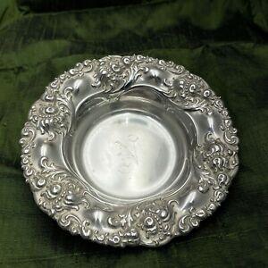 Alvin Repoussé Antique Sterling Silver bonbon bowl 464 Monogrammed letter N