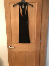 Long Black Vest Style Top With  Sequin Back Size 8 Red Or Dead