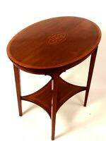 Antique Edwardian Inlaid Oval Mahogany Occasional Table [5636]