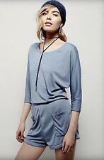 NEW Free People IFP blue Soft Knit On Or Off Shoulder Dolman Sleeve Romper M