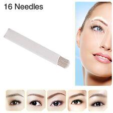 Chuse New 50pcs Permanent Manual Eyebrow Makeup Tattoo Curved Blades 16 Needles