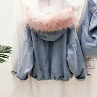 Ladies Fleece Lined Denim Jacket Coat Thicken Hooded Faux Fur Collar Winter Warm