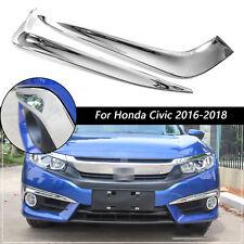 For Honda Civic 2016-2018 10th Chrome Front Fog Light Eyelid Strips Molding Trim