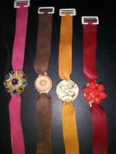 "You Choose One-Leather/Suede Bracelet w/Vtg Jewel/Button Center-Fits 4-8""++"