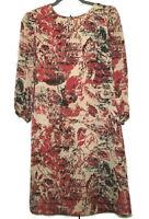 TAHARI Arthur S Levine Shift Dress Lined Sz 4 Bold Back Buttons 3/4 Sleeve Red
