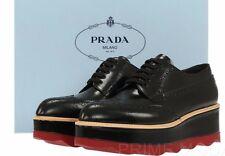 NEW PRADA LADIES  BLACK SMOOTH LEATHER PLATFORM WEDGE OXFORD SHOES 40/US 10