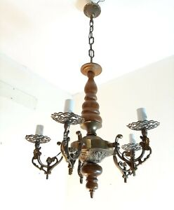 Vintage Lamp Chandelier Lamp  Style Pendant Light 5 Lamps E14 Wood Metal Brass