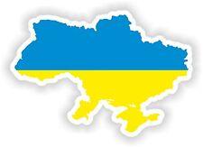 1x Adesivo l'Ucraina SILHOUETTE Paraurti Decalcomania mappa bandiera