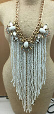 Fashion Necklace Glass Opaque White Smoke Rhinestone Fringe Gold Runway Cosplay