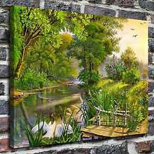 Landscape with herons Paintings HD Print on Canvas Home Decor Wall Art Pictures