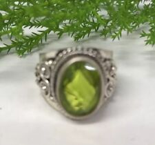 Faceted Lime Quartz Sterling Silver Ring India Size R Reiki Pagan Wicca Ethnic