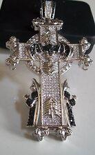 Designer Style Silver Finish Hip Hop Bling Cross/Praying Man Religious Pendant