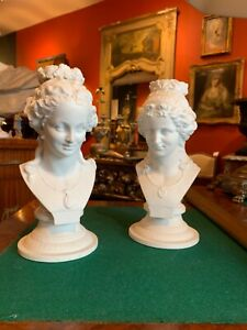 A Pair of Neoclassical Style White Bisque Female Busts