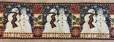 """Snowman LET IT SNOW tapestry table runner Christmas 13"""" x 72"""" ISABELLA"""
