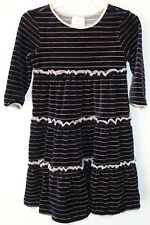 BN ~Hanna Andersson Black Striped Lurex Velour Dress Girl's Size 120, 6-8
