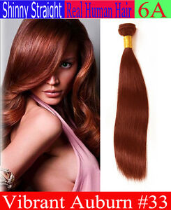 Auburn 33 Silky Straight Sew In 100 Real Human Hair Extensions One Ali Bundle