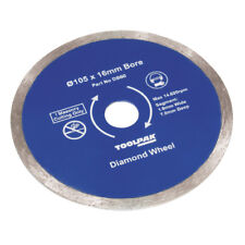 "Diamond Tile Blade Continuous Rim 105mm 4 1/8"" 16mm Bore By TOOLPAK DB80"