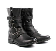 Black Zipper Open Faux Leather Womens Military Mid Calf Combat Boots Size 5.5