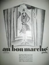 PUBLICITE DE PRESSE AU BON MARCHé NOUVEAUTéS SAISON ILLUSTRATION MERCIER AD 1926