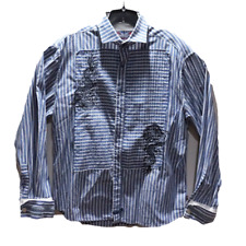 English Laundry Independence Men's XL Blue Striped Button Shirt LS Flip Cuff