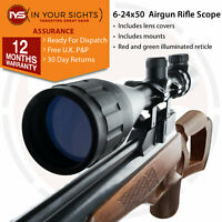 6-24x50 Rifle Scope / Shockproof illuminated reticle rifle sight + free mounts