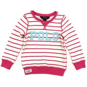 RALPH LAUREN Pink Stripe Sweatshirt Jumper Girls Age 4 Years