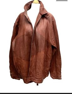 Vintage Polo Ralph Lauren Brown Leather Bomber Jacket With Cotton Lining Size XL