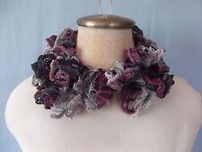 """New Hand Crochet Sparkle Velvet Gray Violet Navy Twisted Ruffled Scarf 31"""" Long"""