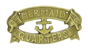 Mermaid Quarters Nautical Wall Plaque Antiqued Brass 7.5 Inches