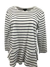 American Living Women Plus Top Tee T-Shirt 3/4 Sleeve Striped Navy White XXL